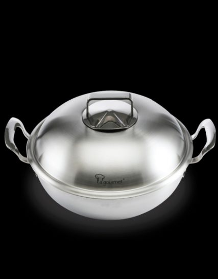 La Gourmet 28cm 5ply Gourmet 18/10 Stainless Steel Wok with Steamer Insert and Stainless Steel Cover