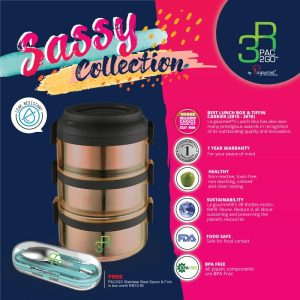 FREE PAC2GO Sassy Collection Stainless steel spoon & fork in box worth RM19.90