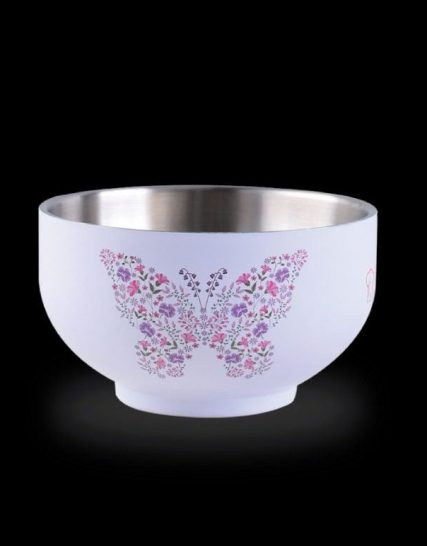 La gourmet® Vintage Collection 14cm Double Wall SUS304 Stainless Steel bowl with matte enamel embossed Printing  Twin Set (Purple)