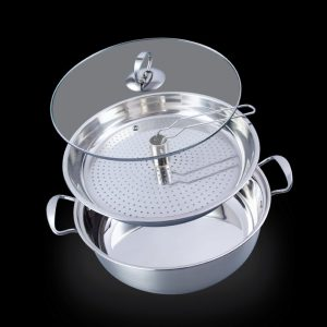 La gourmet® 32cm 18/10 Stainless Steel Steamboat Pot Set with Stainless Steel insert with holes with Induction bottom