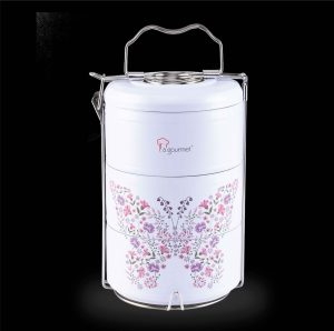 La gourmet® Vintage Collection 2.1L 3 Tier Double Wall SUS304 Stainless Steel Tiffin Carrier with Matter Enamel Embossed Printing  (Purple)