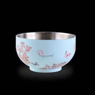 La gourmet® Vintage Collection 14cm Double Wall SUS304 Stainless Steel bowl with matte enamel Embossed Printing Twin Set (Turquoise)