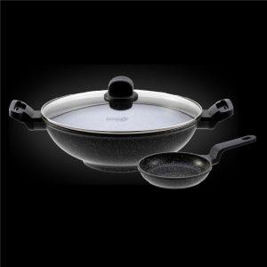 Shogun® 32cm Marble Wok (IH) + 14cm Egg Pan without induction