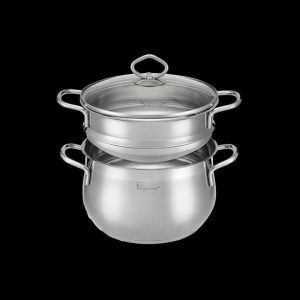 Classic 20cm 18/10 Stainless Steel Double Boiler 20cm x 12.8cm Casserole with Glass lId (4L)  20 x 9.5cm Steamer Insert (2.4L)