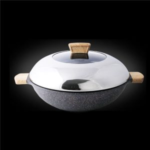 Shogun Granite-Plus 36cm covered wok with IH
