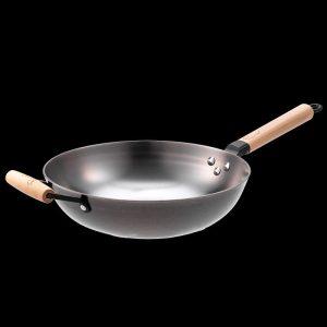 30cm Nitrigan Cast Iron open wok with long wooden handle + helper handle