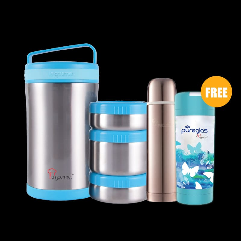 Go-Eco 1.7L Food Jar with 3 Pcs Stainless Steel Insert + Sakura 0.5L Thermal Flask (Brass Brown)