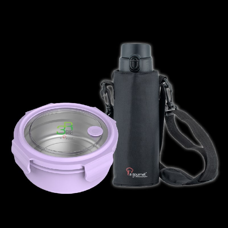 New Classic 800ml Thermal One Touch with Pouch + PTG Sassy 1L Round Lunch Box – Purple-min