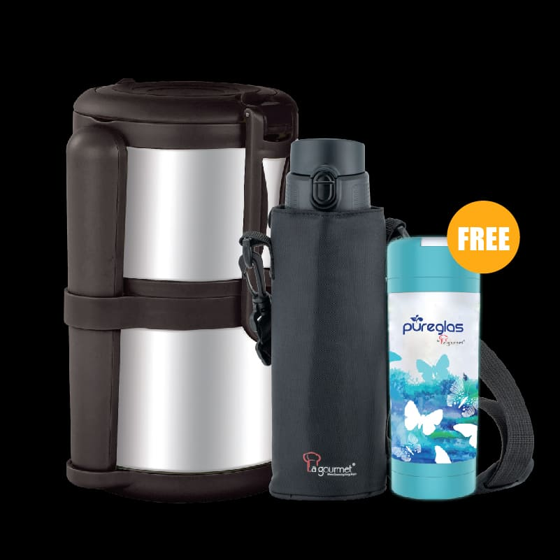 PAC2GO 1.4L 2 Tier Thermal Tiffin Carrier – Brown + New Classic 800ml Thermal One Touch with Pouch