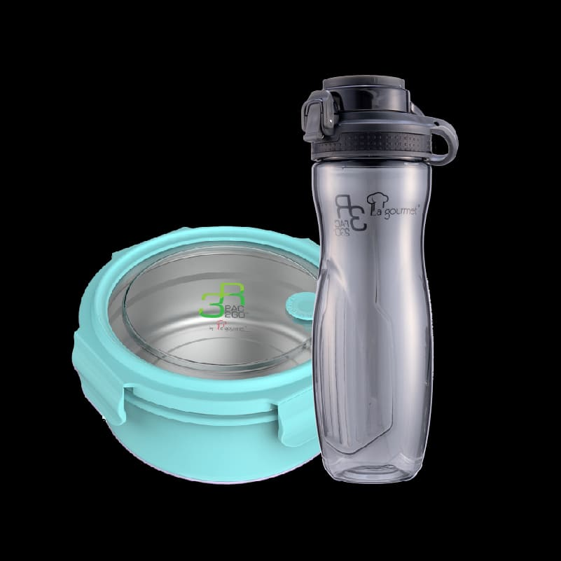 PAC2GO 1L Round lunch box with 304 stainless steel insert -Turquoise + PAC2GO 700ml Tritan Hydration Bottle. (Flip Cap)