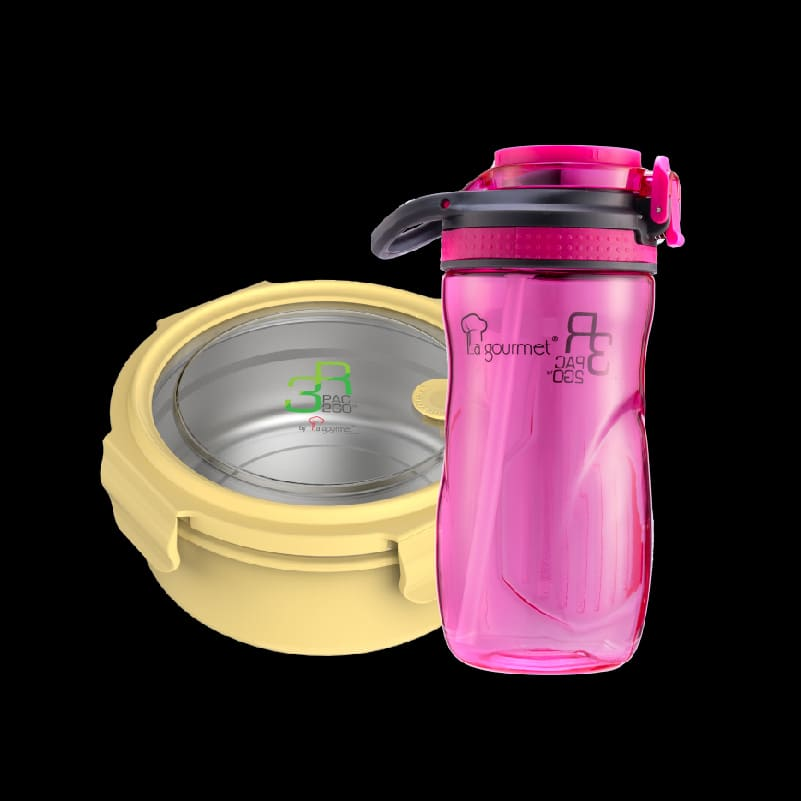 PAC2GO 700ml Round lunch box with 304 stainless steel insert – Yellow + PAC2GO 500ml Tritan Hydration Bottle (Straw Cap)