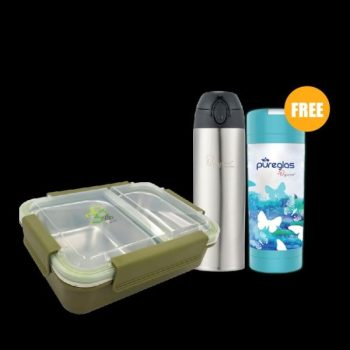 PAC2GO 750ml 2 compartment leak proof lunch box – Army Green + New Classic 0.5L Superlight Thermal One-Touch Tumbler