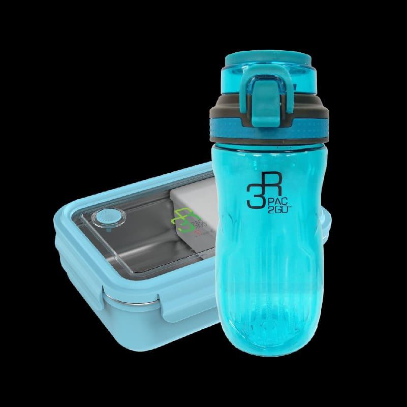 PAC2GO Sassy Collection 800ml Rectangular Lunch Box – Blue + PAC2GO 500ml Tritan Hydration Bottle. (Flip Cap)