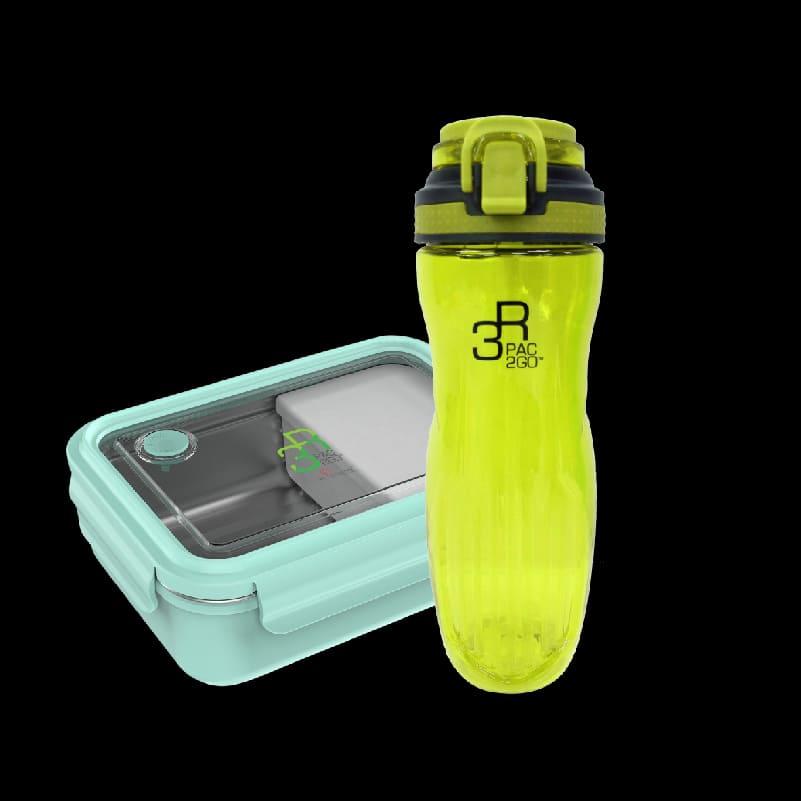PAC2GO Sassy Collection 800ml Rectangular Lunch Box – Mint Green + PAC2GO 700ml Tritan Hydration Bottle. (Straw Cap) – Yellow