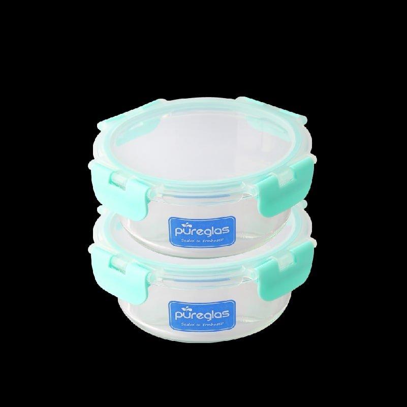 Pureglas 0.65L Round Container x 2-min