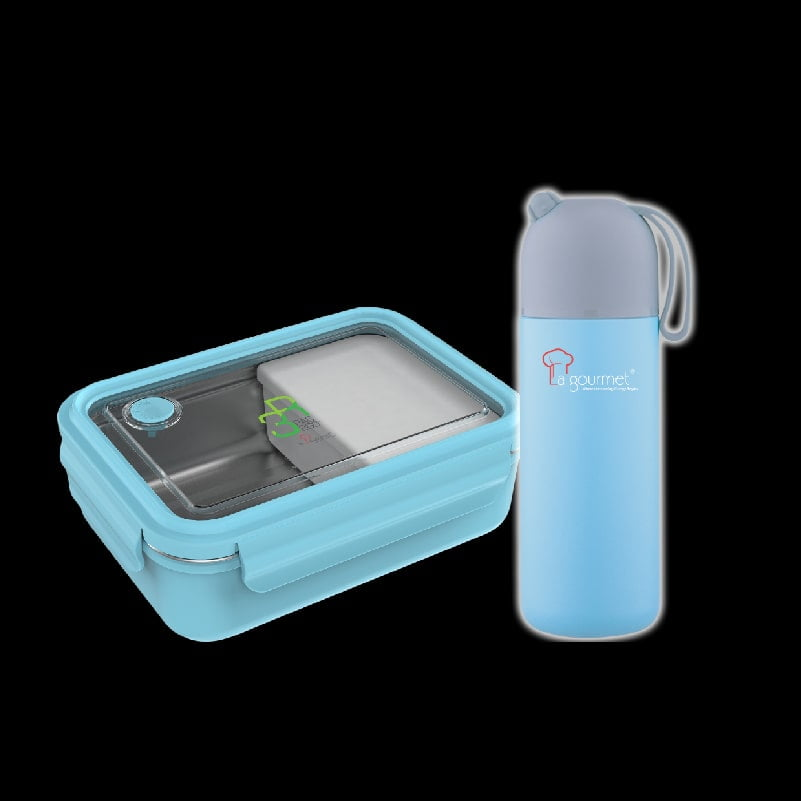 Trendy Collection 410ml Thermal flask with silicon strap + PAC2GO 800ml Rectangular Lunch Box-min