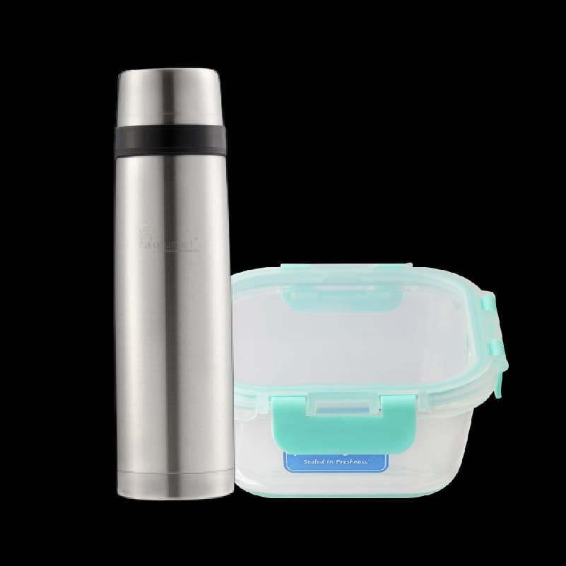 Classic 800ml Thermal Flask +Pureglas 0.8L Square Container