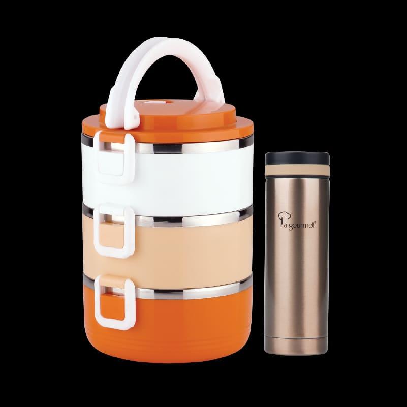 New Millennium PAC2GO 2.1L 3-tier lunch box -Orange and White + Galaxy 0.3L Themal Tumbler-Champagne Gold