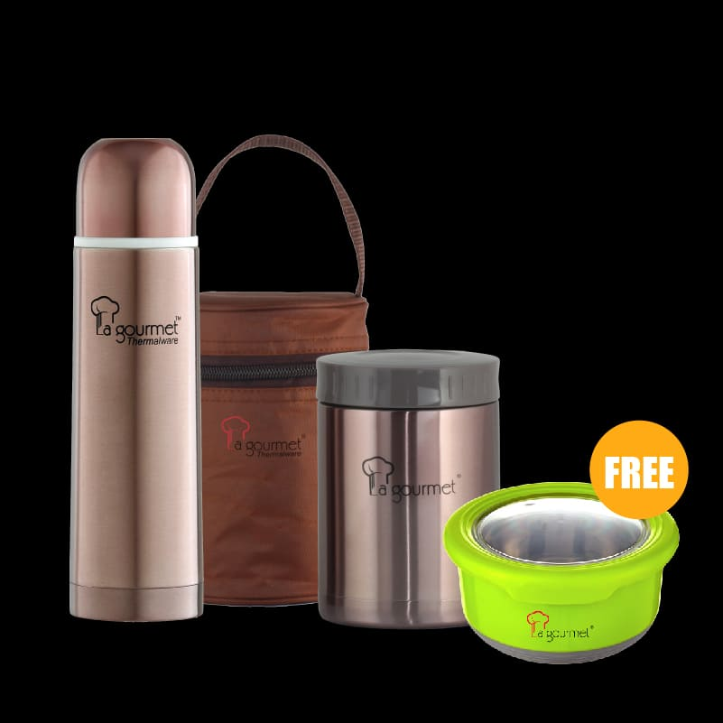 Sakura Gift set (0.58L Food Jar in pouch + 0.5L Flask + Pack2Go 730ml Round canister wSUS304 stainless steel insert in gift box (Apple Green)